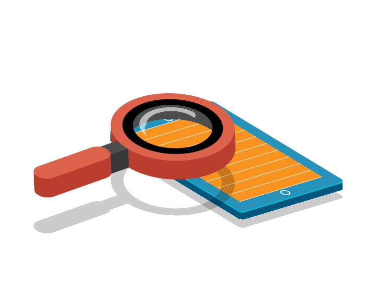 magnifying glass over a tablet