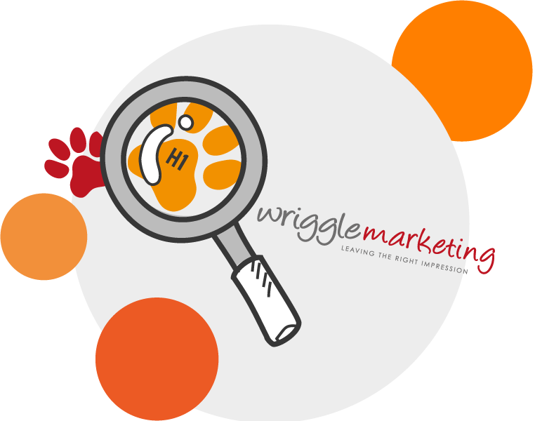 magnifying glass over wriggle logo