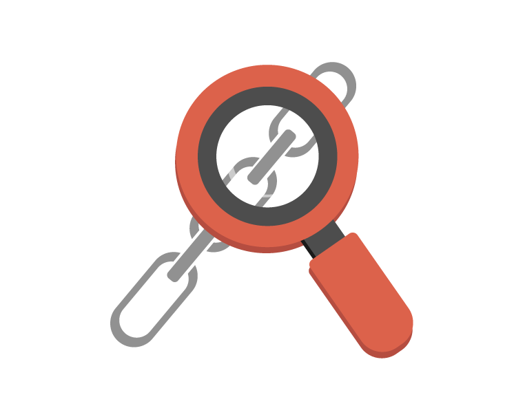 magnifying glass looking at a chain